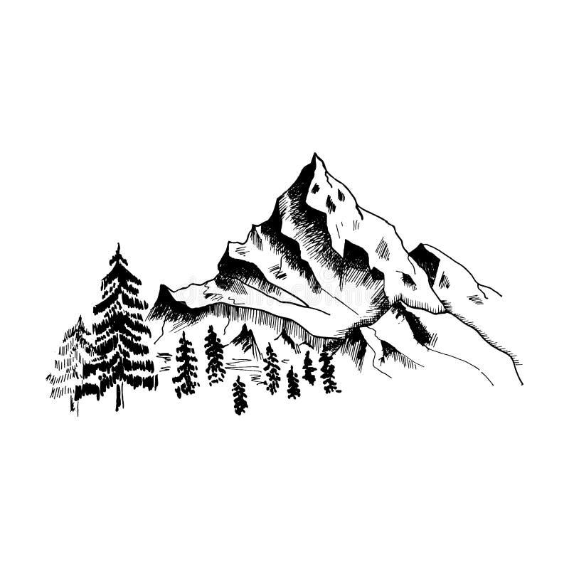 Croquis de montagne Montagnes tirées par la main et forêt noires, d'isolement sur le blanc Vecteur illustration stock