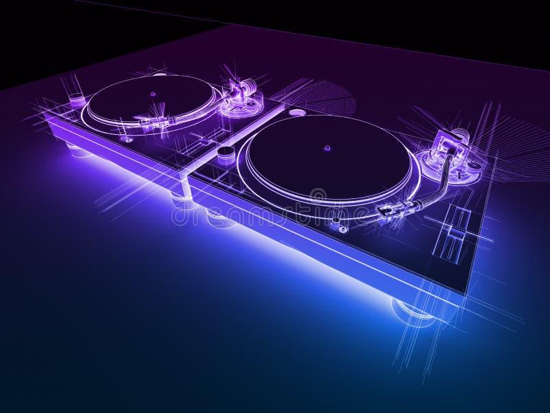 Croquis de néon des plaques tournantes 3D du DJ illustration stock