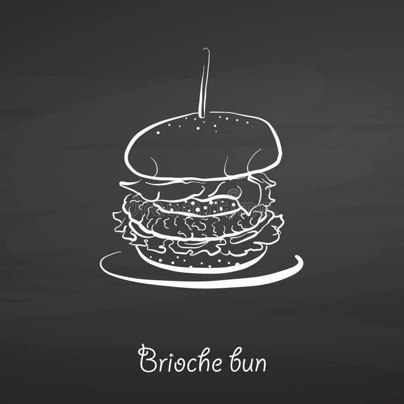 Croquis de nourriture de petit pain de brioche sur le tableau illustration stock
