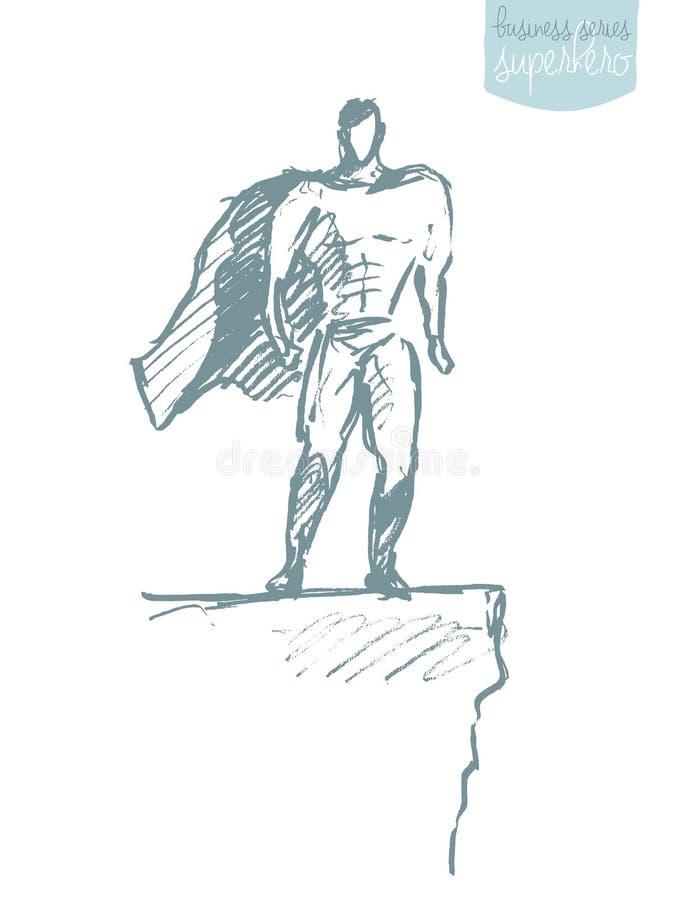 Croquis de ondulation de vecteur de héros de manteau d'homme d'affaires illustration stock