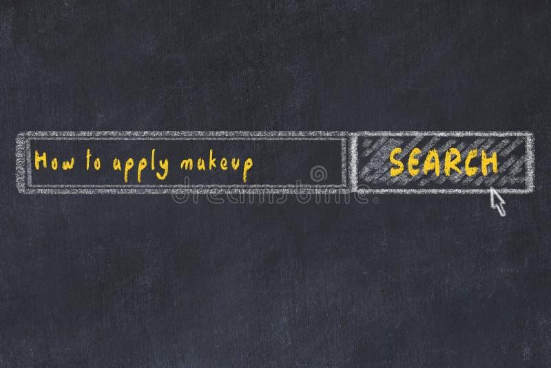 Croquis de panneau de craie de moteur de recherche d'Internet Recherchant comment appliquer le maquillage illustration de vecteur
