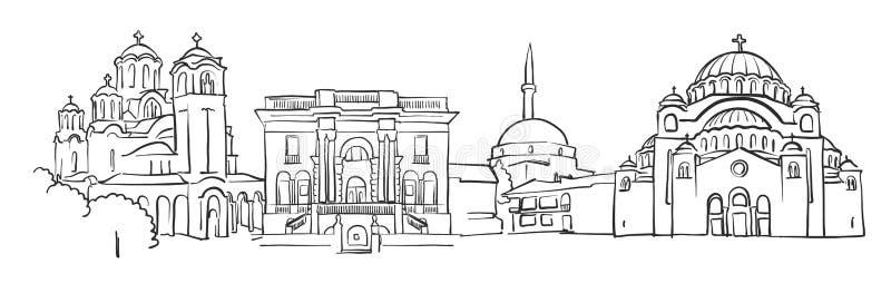 Croquis de panorama de Belgrade illustration libre de droits