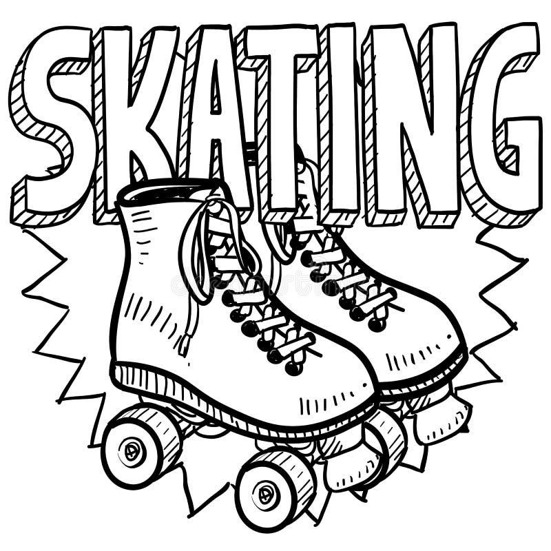 Croquis de patinage de rouleau illustration stock