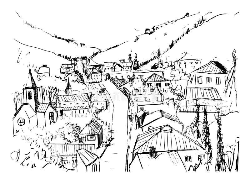 Croquis de paysage de montagne avec la ville géorgienne tirée par la main dans des couleurs noires et blanches Beau dessin monoch illustration stock
