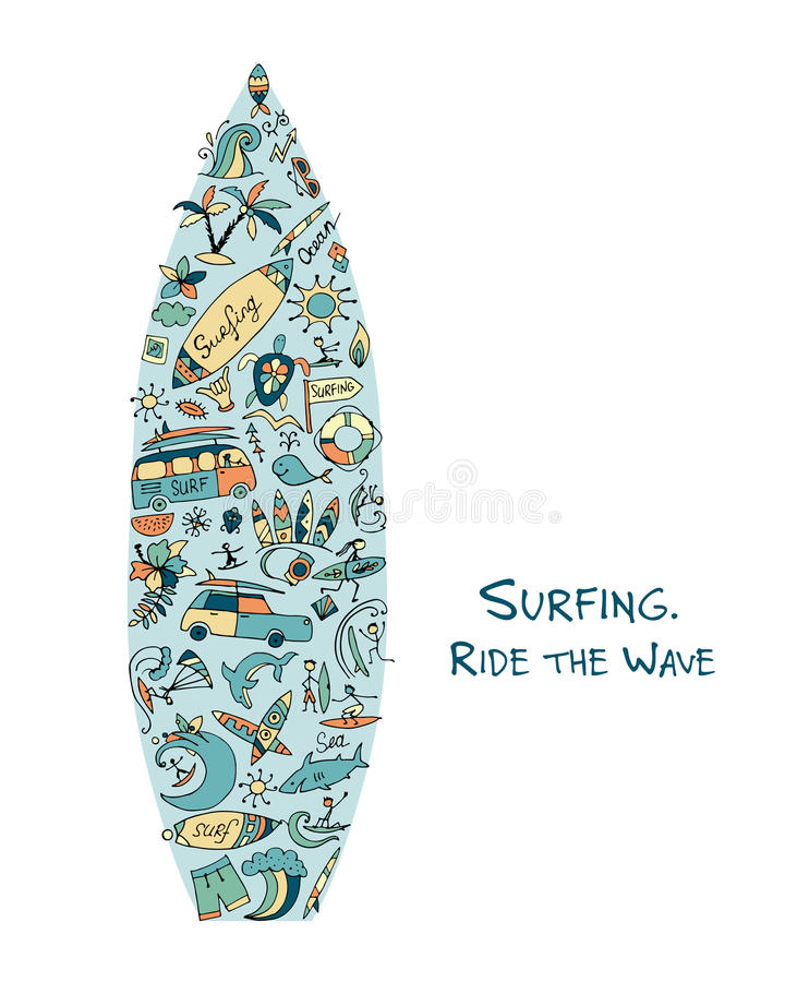 Croquis de planche de surf, conception faite à partir des icônes de ressac réglées illustration libre de droits