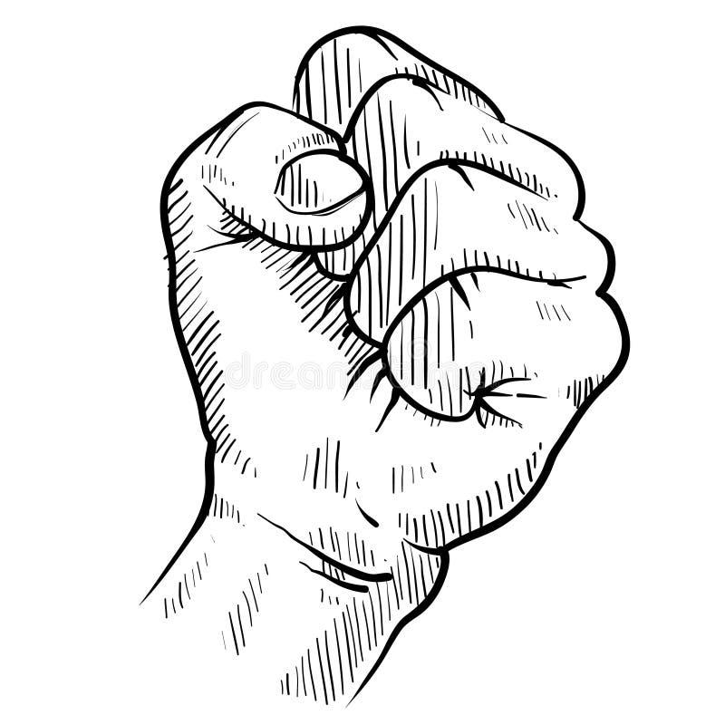 Croquis de poing de protestation illustration libre de droits