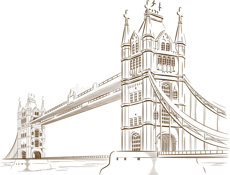 Croquis de point de repère britannique de tourisme - pont de Londres illustration de vecteur