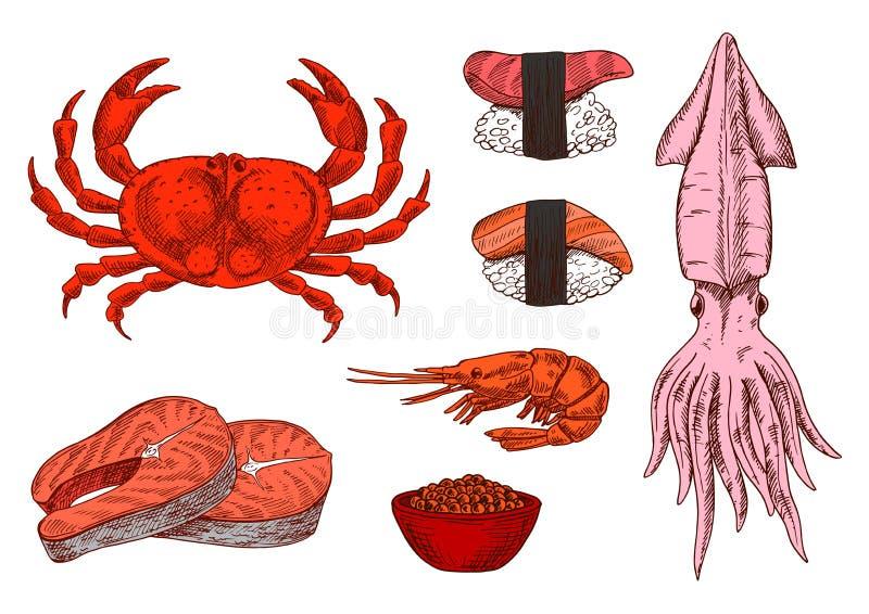 Croquis de poisson frais, de crustacés, de caviar et de sushi illustration libre de droits