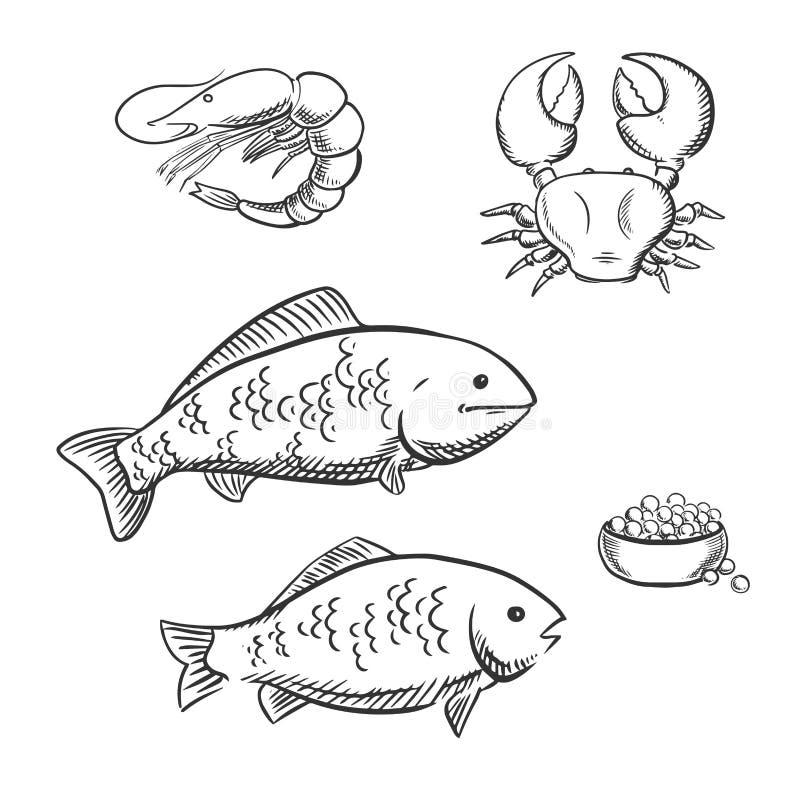 Croquis de poissons de crevette de crabe et de caviar - Croquis poisson ...
