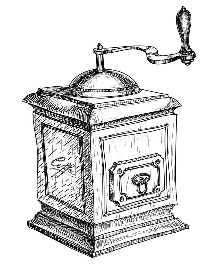Croquis de rectifieuse de café illustration libre de droits