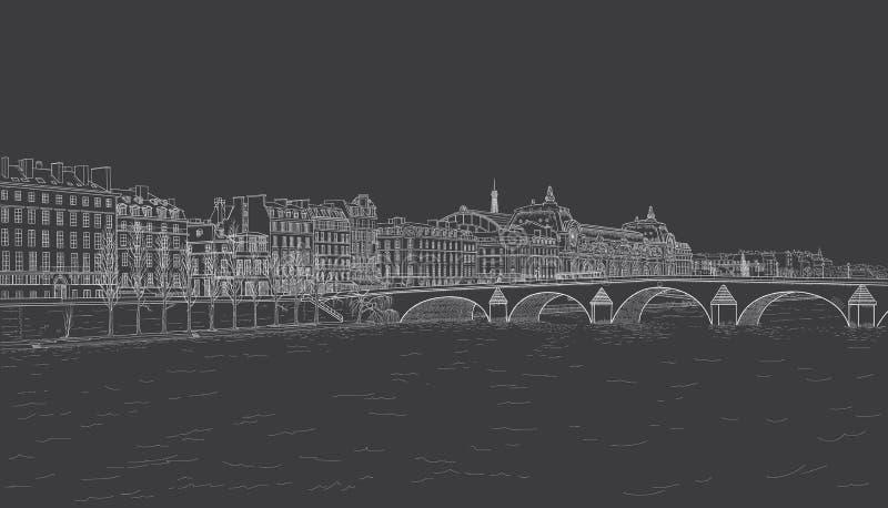 Croquis de remblai de la Seine illustration stock