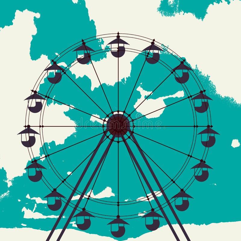 Croquis de roue de Ferris illustration de vecteur