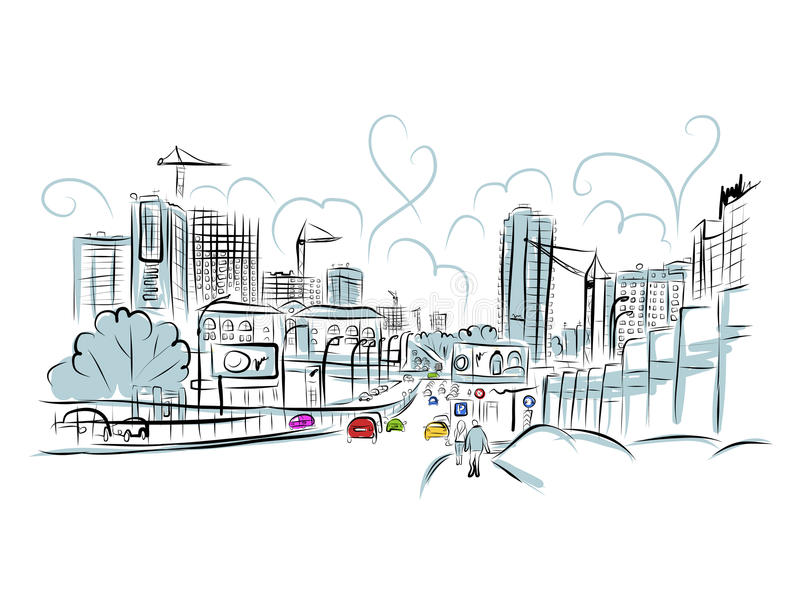 Croquis de route du trafic dans la ville pour votre conception illustration de vecteur