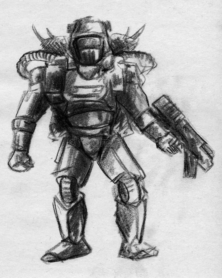 Croquis de soldat de cyborg illustration de vecteur