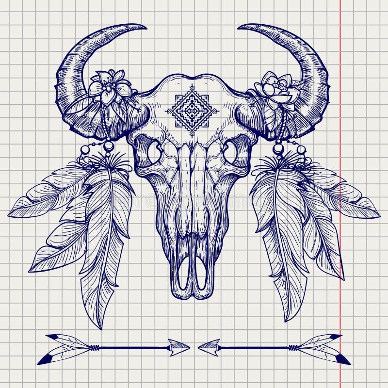 Croquis de stylo de boule de crâne de Buffalo illustration libre de droits