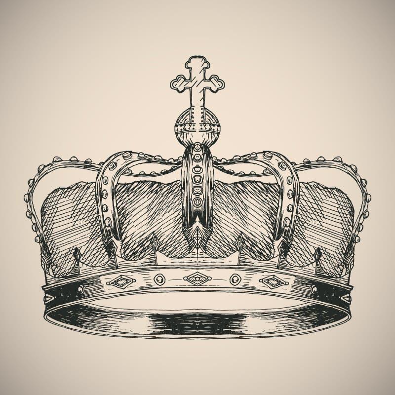 Croquis de symbole de couronne image libre de droits