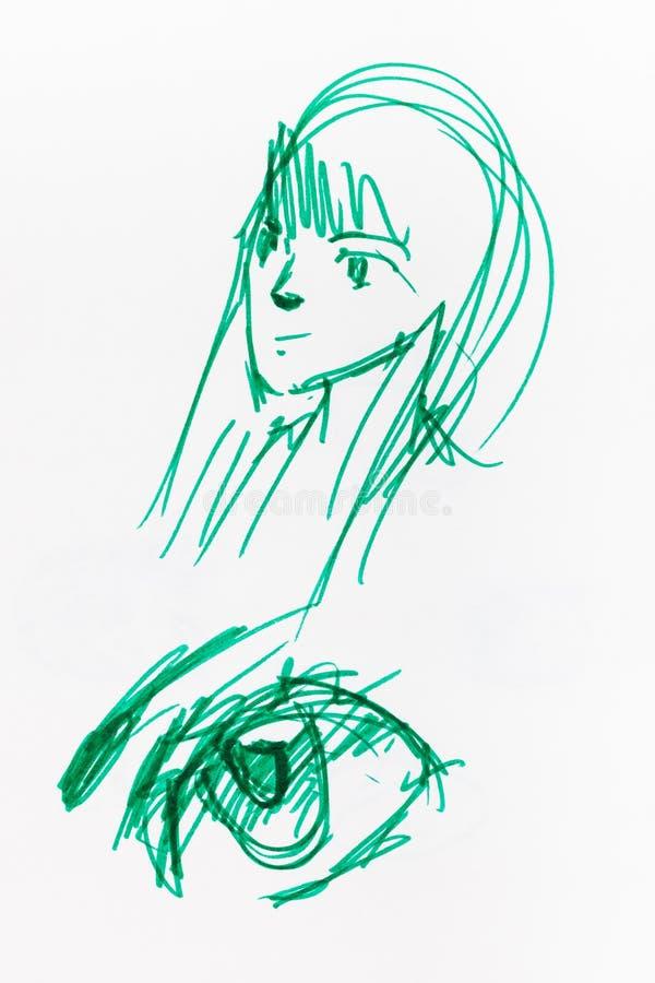 Croquis de t?te et d'oeil femelles par le stylo senti vert illustration de vecteur