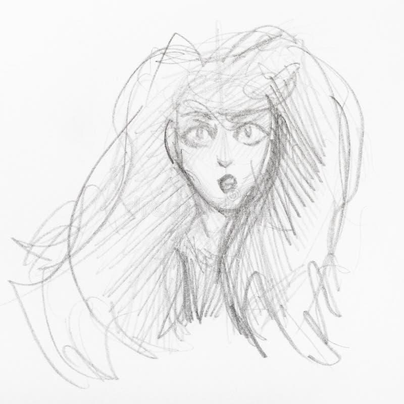 Croquis de t?te de fille avec les cheveux luxuriants illustration de vecteur