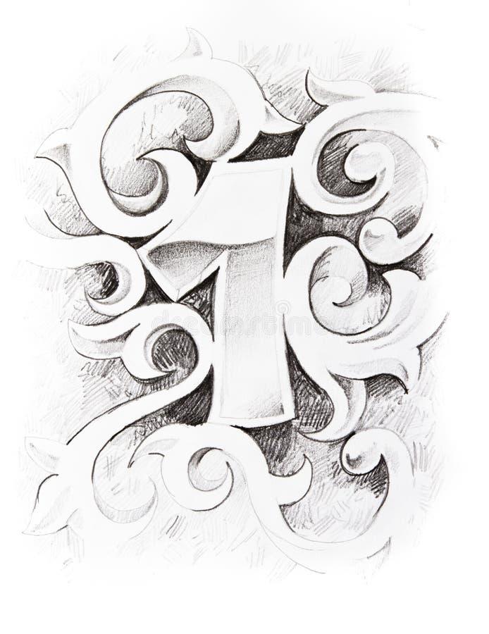 Croquis de tatouage d'un numéro illustration stock