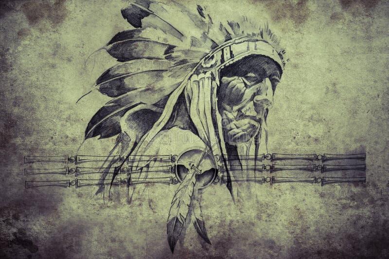 Croquis de tatouage de chef de tribu indien de guerriers illustration de vecteur