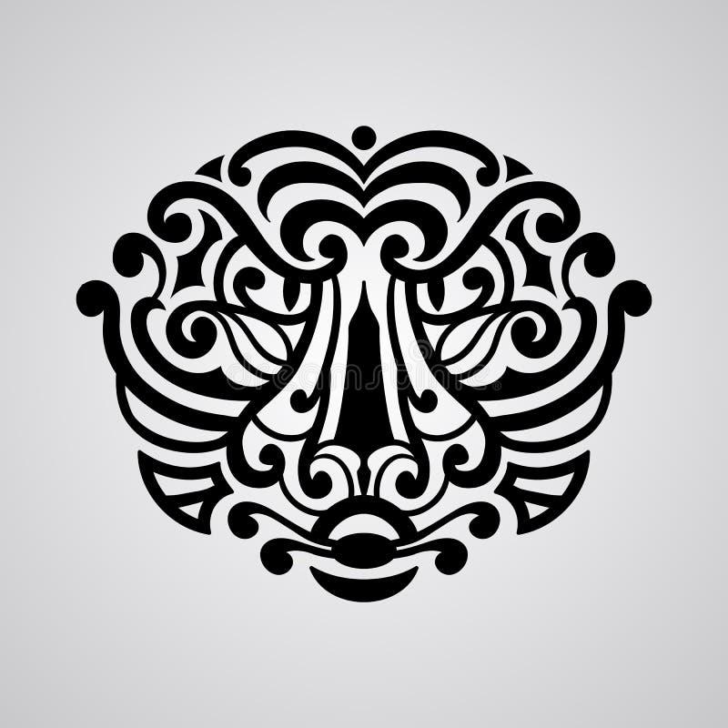 Croquis de tatouage de visage de tigre de vecteur illustration de vecteur