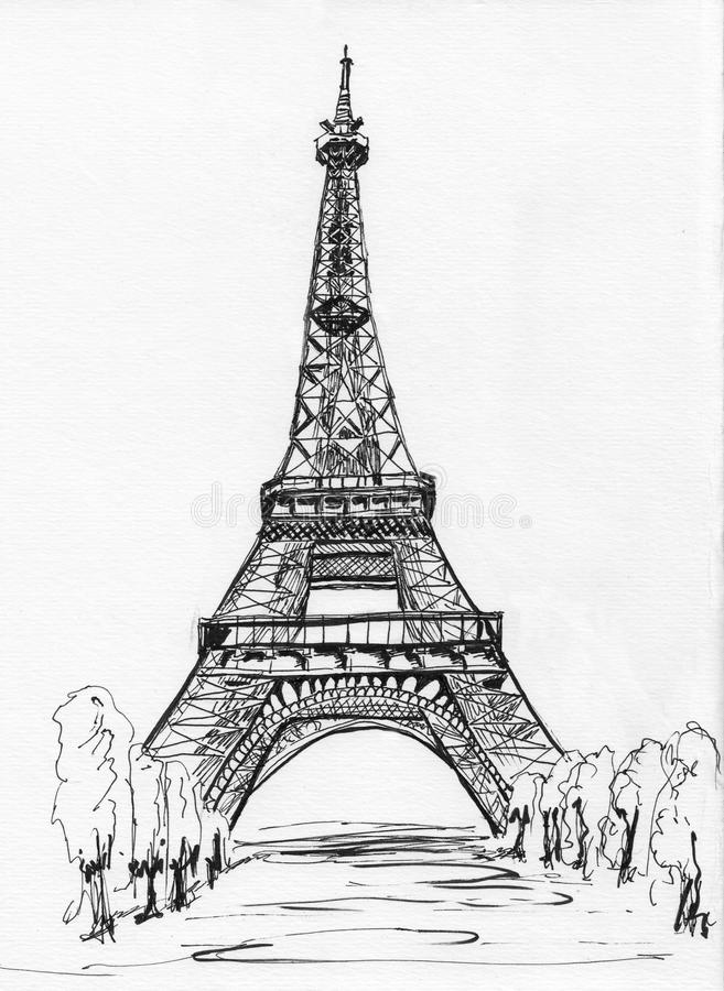 Croquis de Tour Eiffel de Paris illustration libre de droits