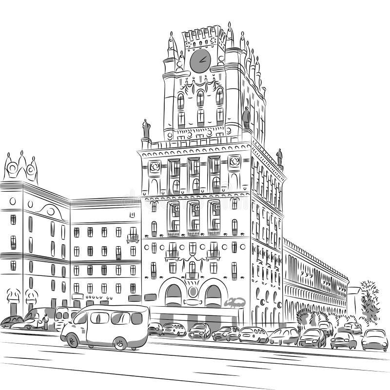 Croquis de vecteur d'un ville-centre illustration stock