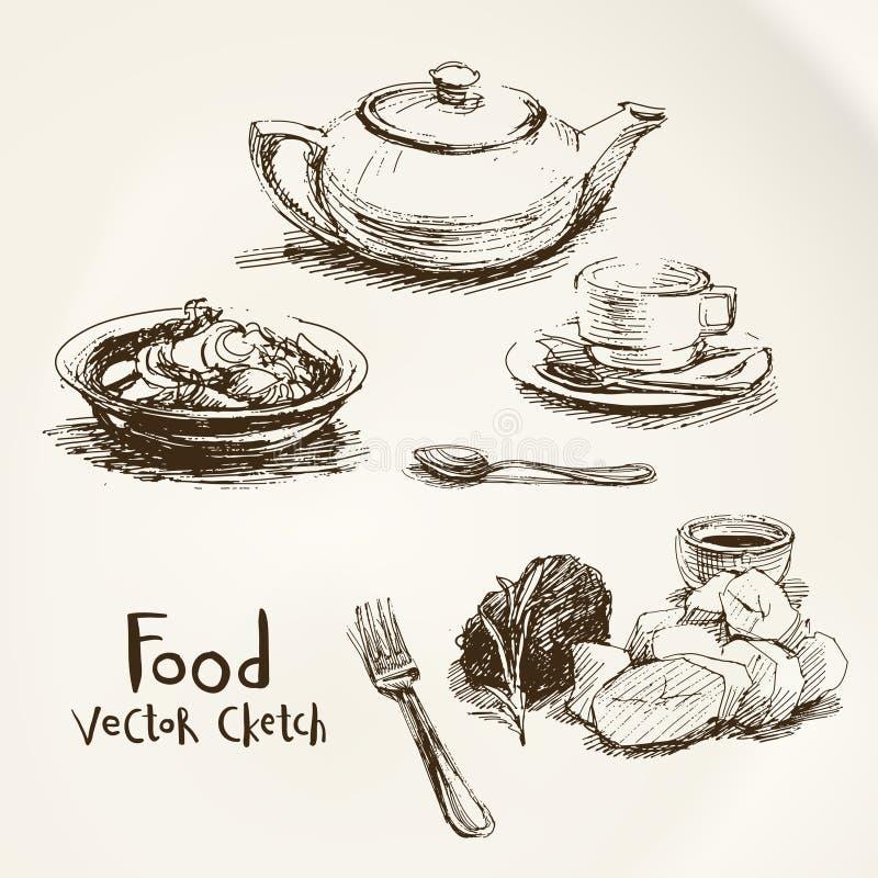 Croquis de vecteur de nourriture illustration libre de droits