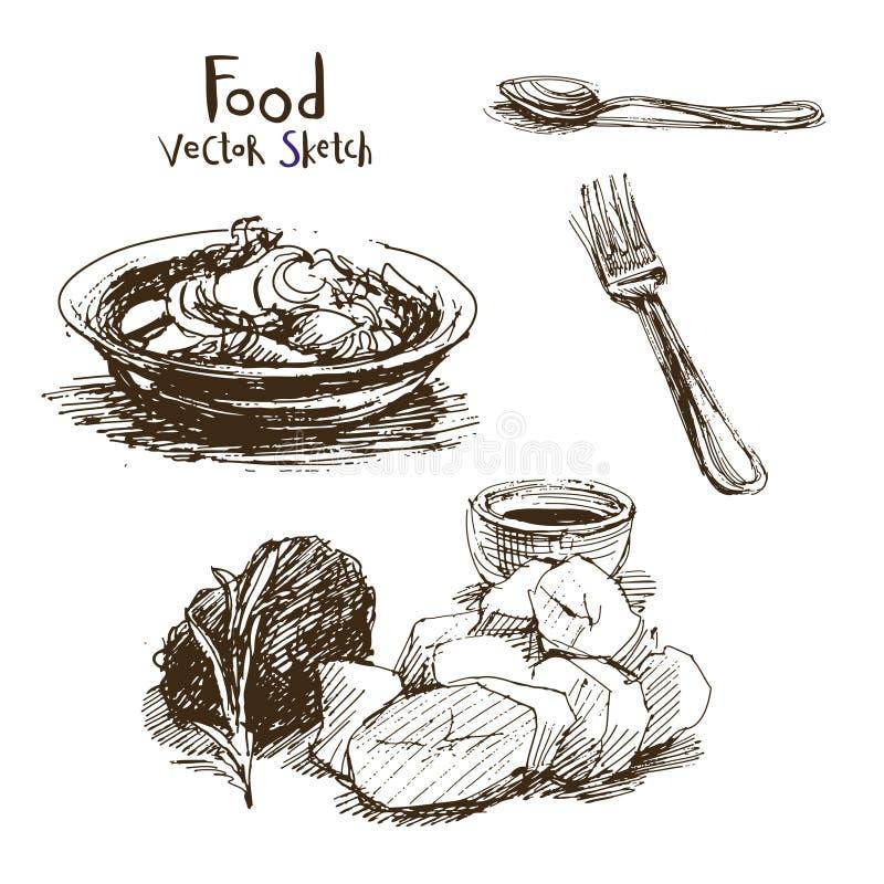 Croquis de vecteur de nourriture illustration stock