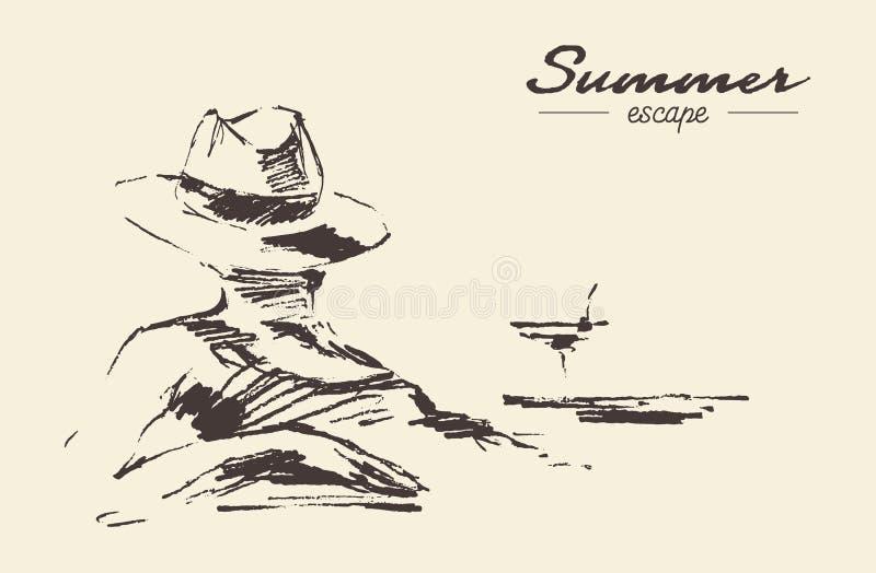 Croquis de vecteur dessiné par plage de femme de vacances d'été illustration de vecteur