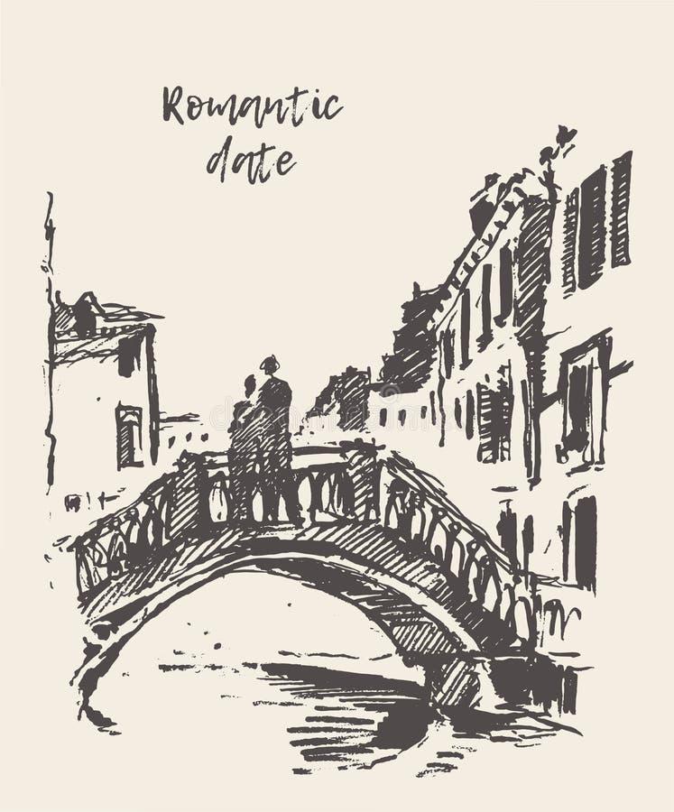 Croquis de vecteur dessiné par pont debout affectueux de couples illustration libre de droits