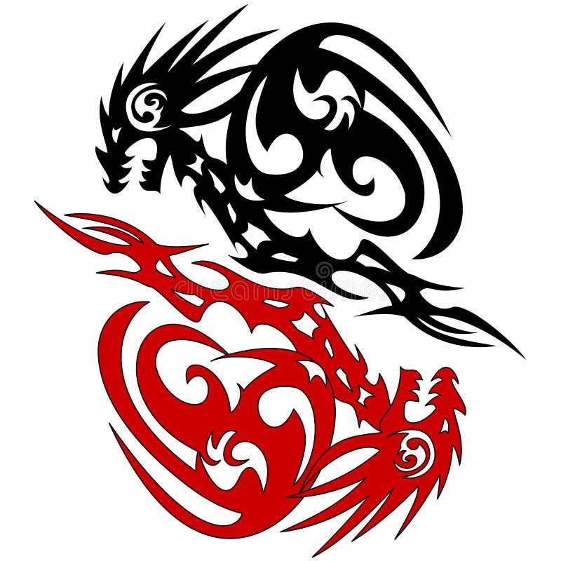 Croquis de vecteur de dragon de la silhouette deux de tatouage illustration de vecteur