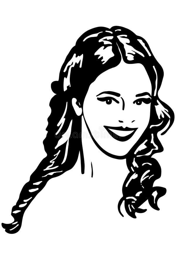Croquis de vecteur du beau sourire de fille de brune illustration de vecteur