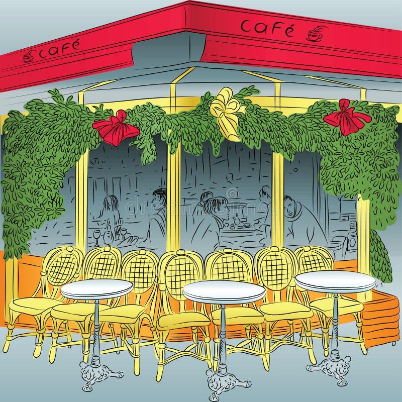 Croquis de vecteur du café parisien illustration de vecteur