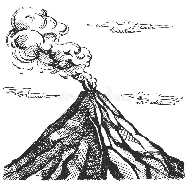 Croquis de vecteur du volcan illustration de vecteur
