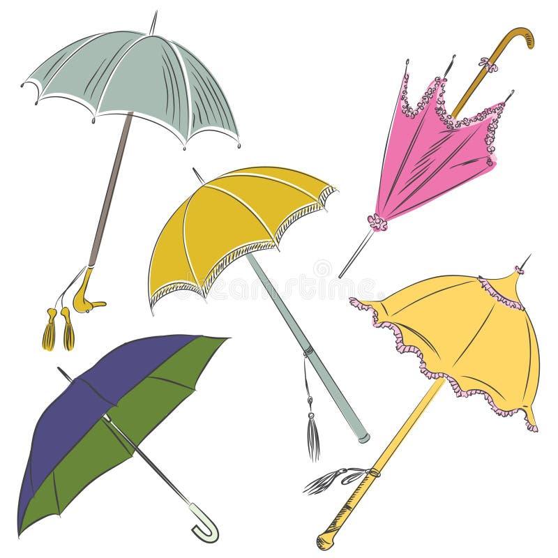 Croquis de vecteur - ensemble de parapluie illustration de vecteur