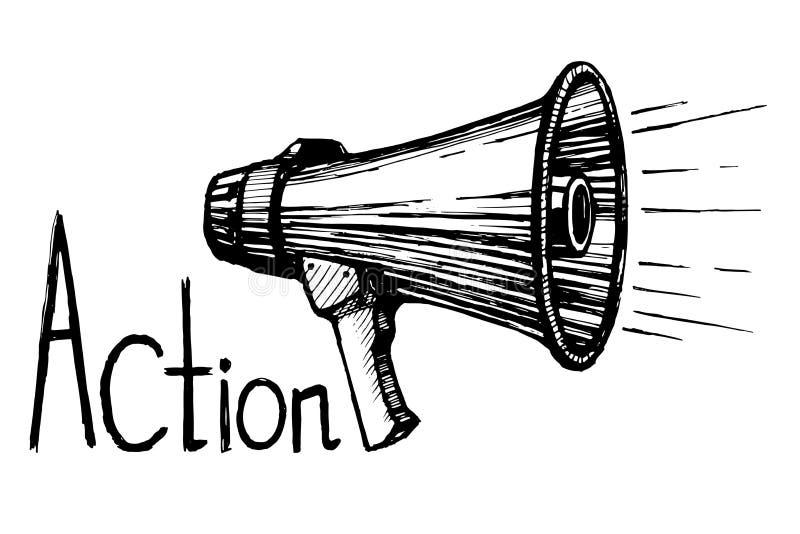 Croquis de vecteur de haut-parleur de klaxon illustration de vecteur