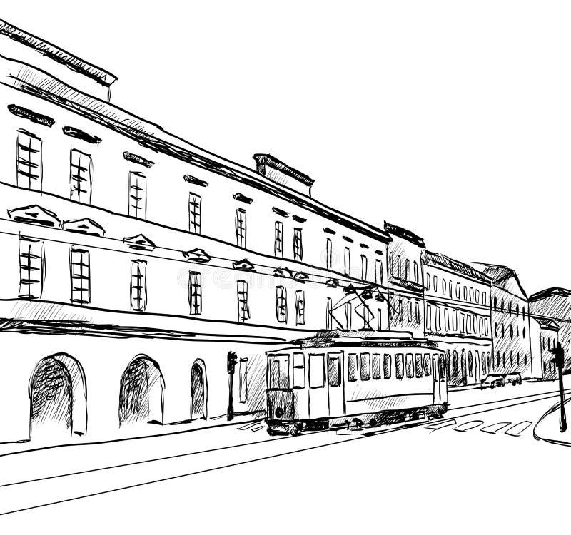 Croquis de ville illustration de vecteur