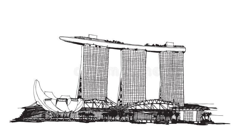 Croquis de ville de Singapour illustration libre de droits