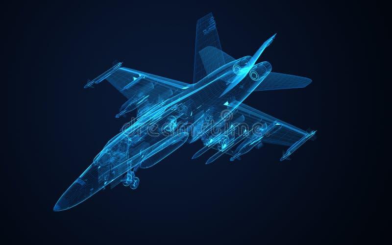 croquis de vue du fil 3d du frelon F-18 illustration stock
