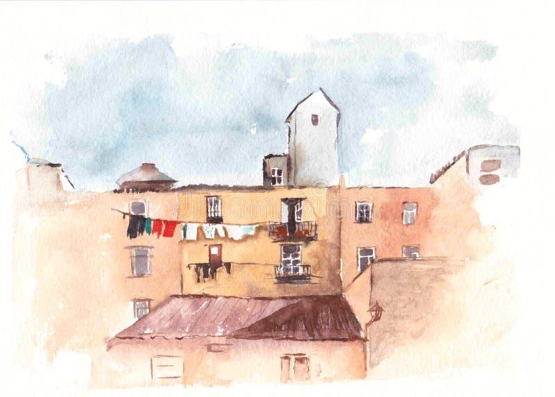 Croquisde Watercolordes maisons Illustration peinte à la main Déplacement et peinture de vacances illustration libre de droits