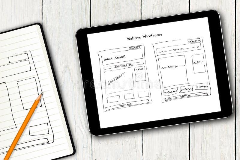 Croquis de wireframe de site Web sur l'écran numérique de comprimé photographie stock libre de droits