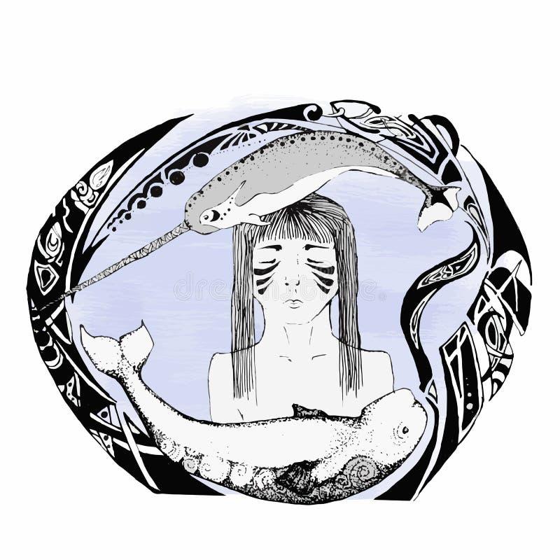 Croquis des baleines et d'une fille image libre de droits