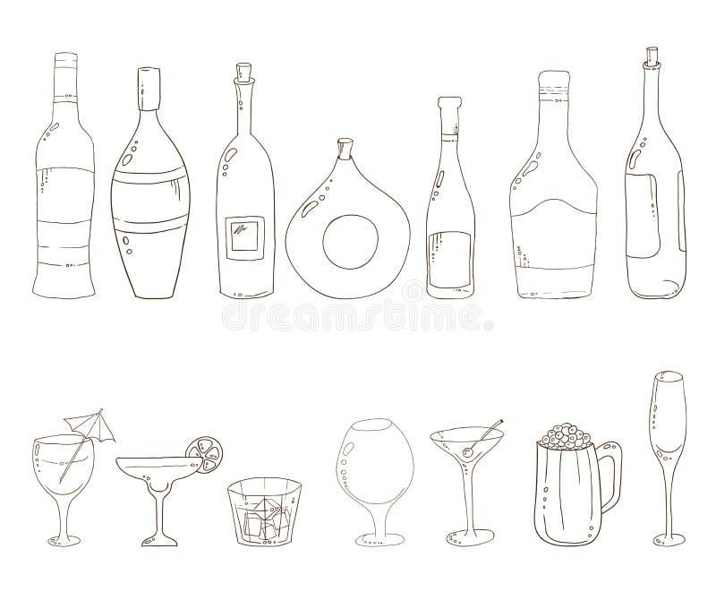 Croquis des bouteilles de vin illustration libre de droits