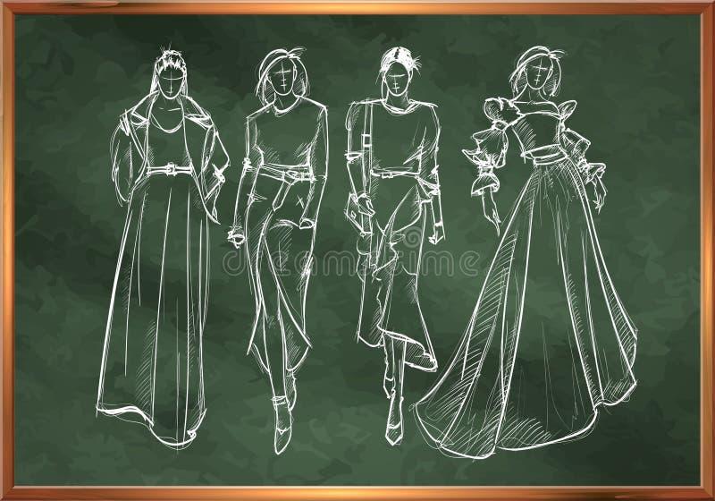 Croquis des filles de mode dans le style de craie sur un tableau noir d'école Mannequins élégants Deux soeurs Le croquis de la fe illustration stock