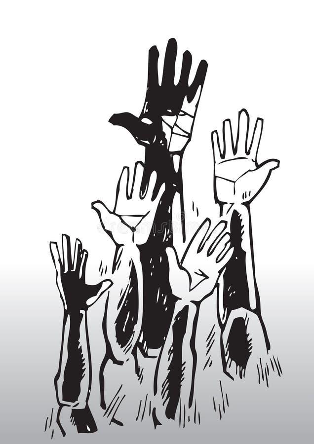 Croquis des mains de ondulation illustration de vecteur