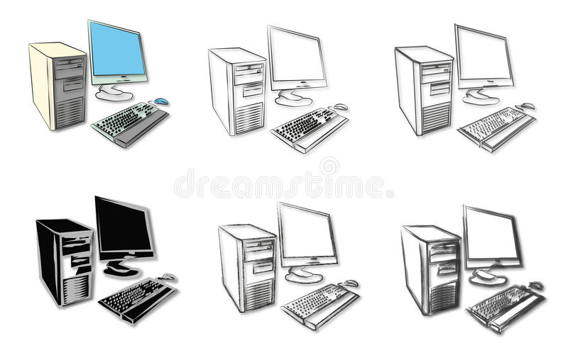 Croquis des ordinateurs de bureau illustration stock