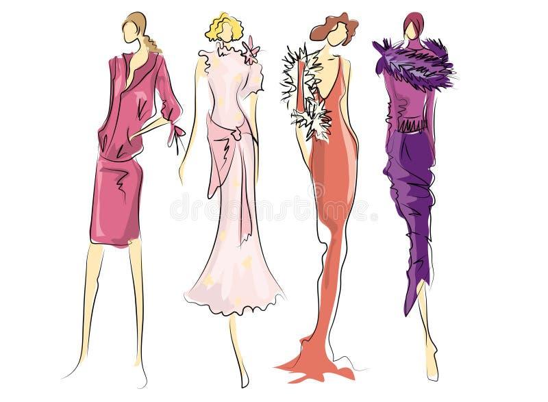 Croquis des robes de mode illustration stock