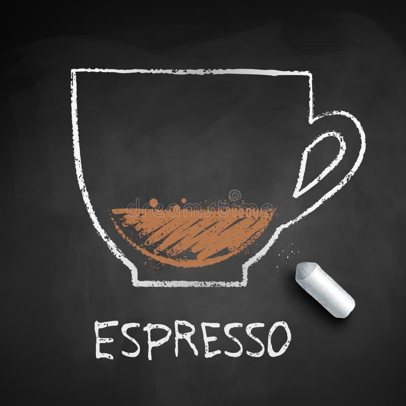 Croquis dessiné par craie de vecteur de café d'expresso illustration libre de droits