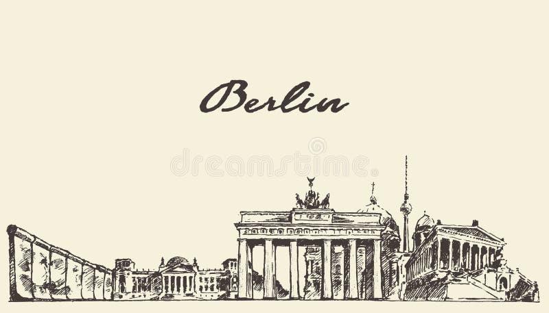 Croquis dessiné par illustration de vecteur d'horizon de Berlin illustration libre de droits